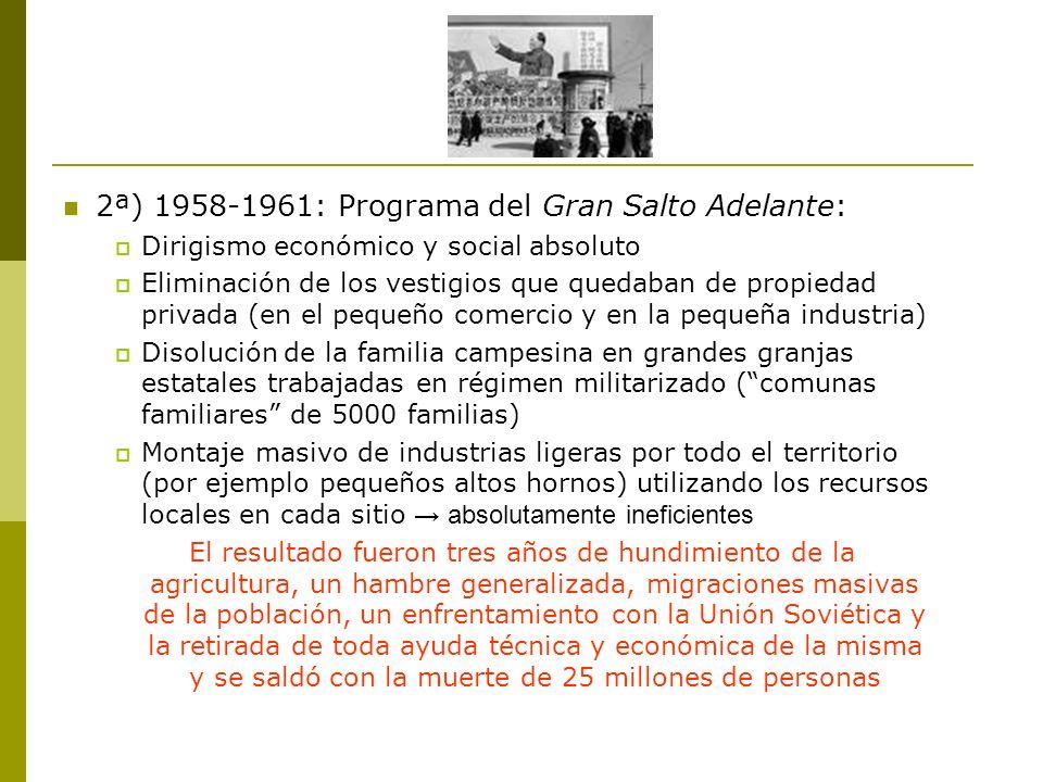 2ª) 1958-1961: Programa del Gran Salto Adelante:
