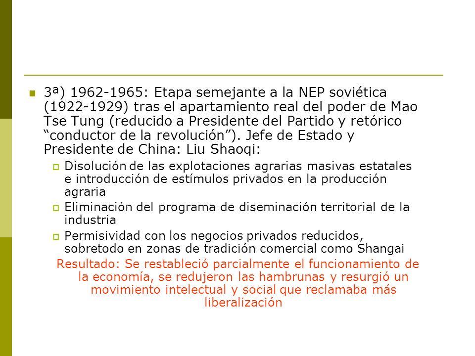 3ª) 1962-1965: Etapa semejante a la NEP soviética (1922-1929) tras el apartamiento real del poder de Mao Tse Tung (reducido a Presidente del Partido y retórico conductor de la revolución ). Jefe de Estado y Presidente de China: Liu Shaoqi: