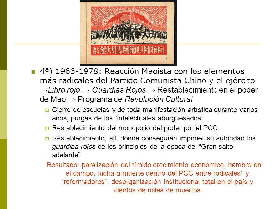 4ª) 1966-1978: Reacción Maoista con los elementos más radicales del Partido Comunista Chino y el ejército →Libro rojo → Guardias Rojos → Restablecimiento en el poder de Mao → Programa de Revolución Cultural