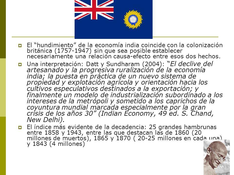 El hundimiento de la economía india coincide con la colonización británica (1757-1947) sin que sea posible establecer necesariamente una relación causa-efecto entre esos dos hechos.