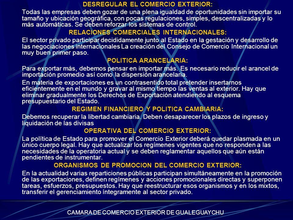 DESREGULAR EL COMERCIO EXTERIOR: