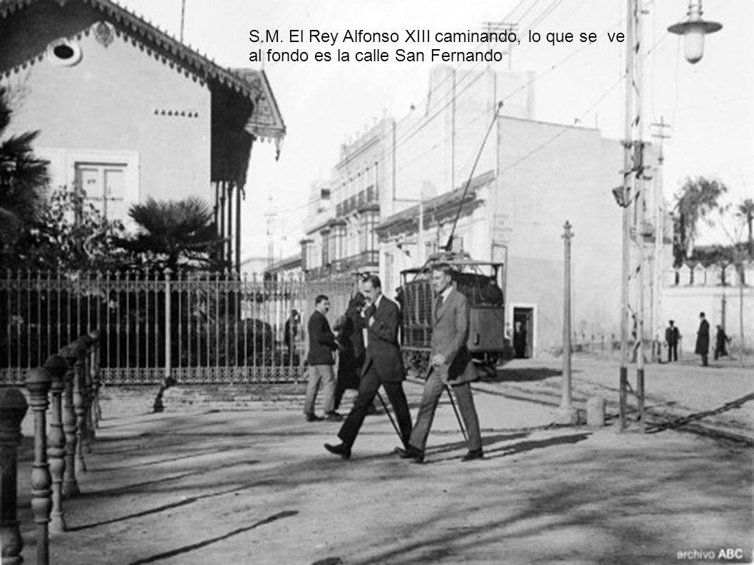 S.M. El Rey Alfonso XIII caminando, lo que se ve