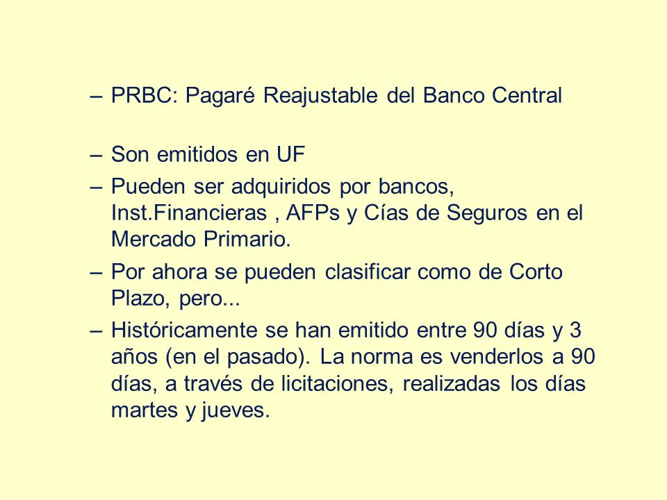 PRBC: Pagaré Reajustable del Banco Central
