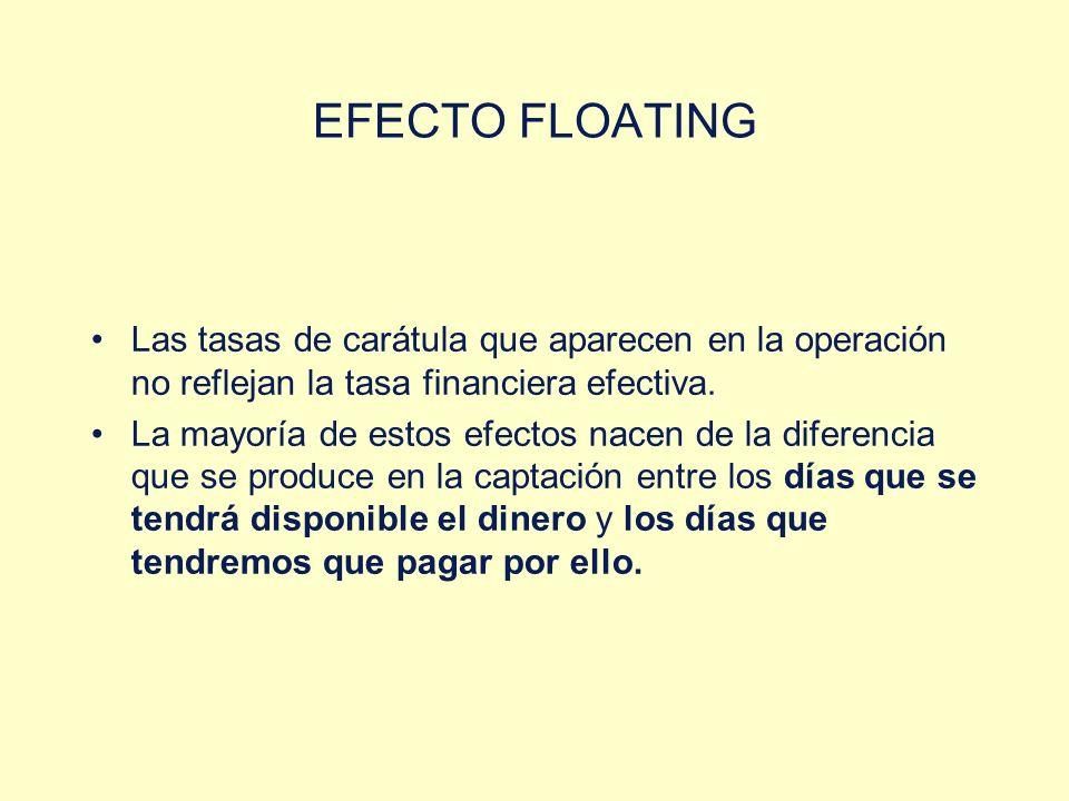 EFECTO FLOATING Las tasas de carátula que aparecen en la operación no reflejan la tasa financiera efectiva.