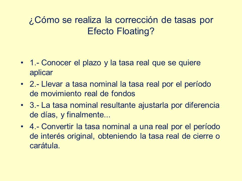 ¿Cómo se realiza la corrección de tasas por Efecto Floating