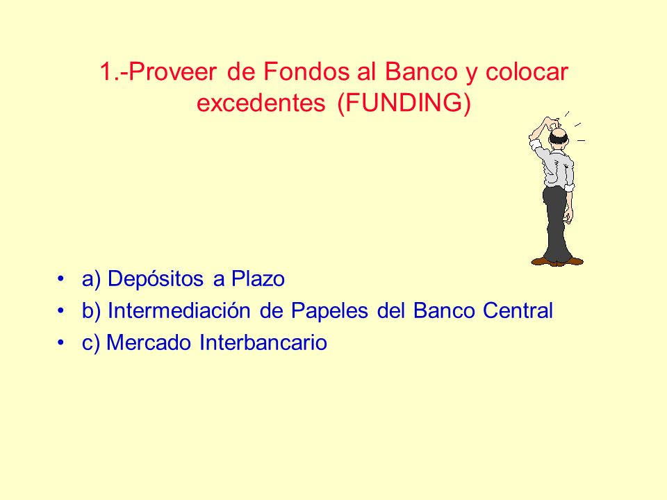 1.-Proveer de Fondos al Banco y colocar excedentes (FUNDING)