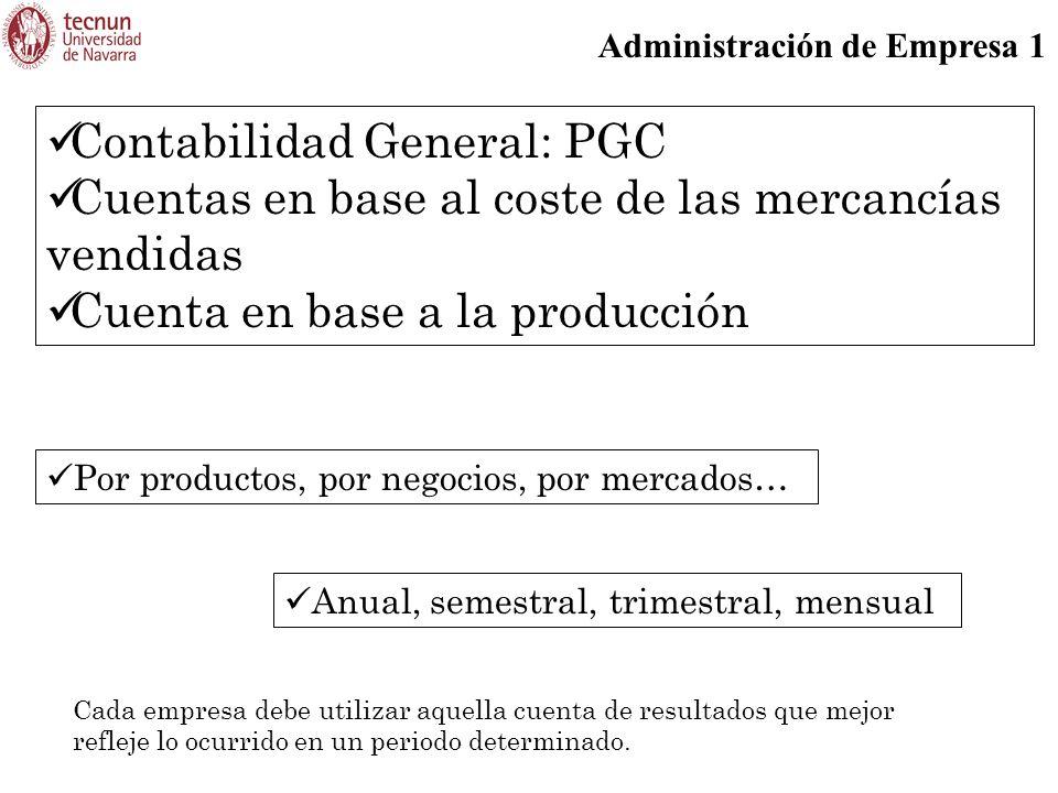Contabilidad General: PGC Cuentas en base al coste de las mercancías