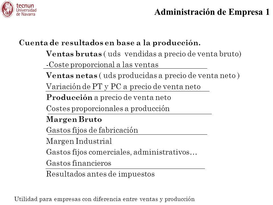 Cuenta de resultados en base a la producción.