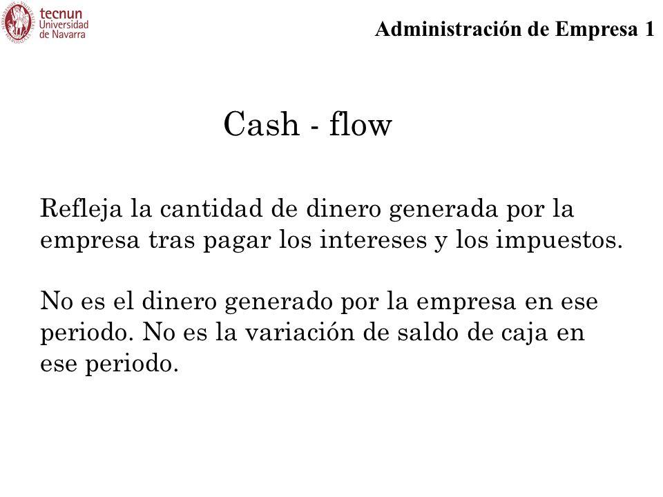 Cash - flow Refleja la cantidad de dinero generada por la