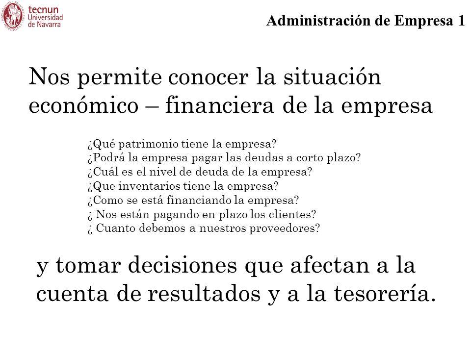 Nos permite conocer la situación económico – financiera de la empresa