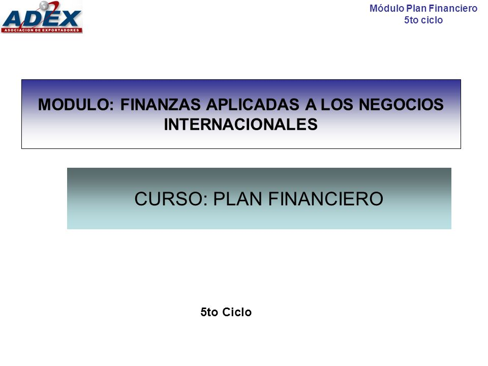 CURSO: PLAN FINANCIERO