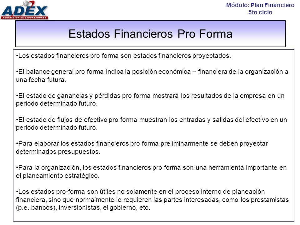 Estados Financieros Pro Forma