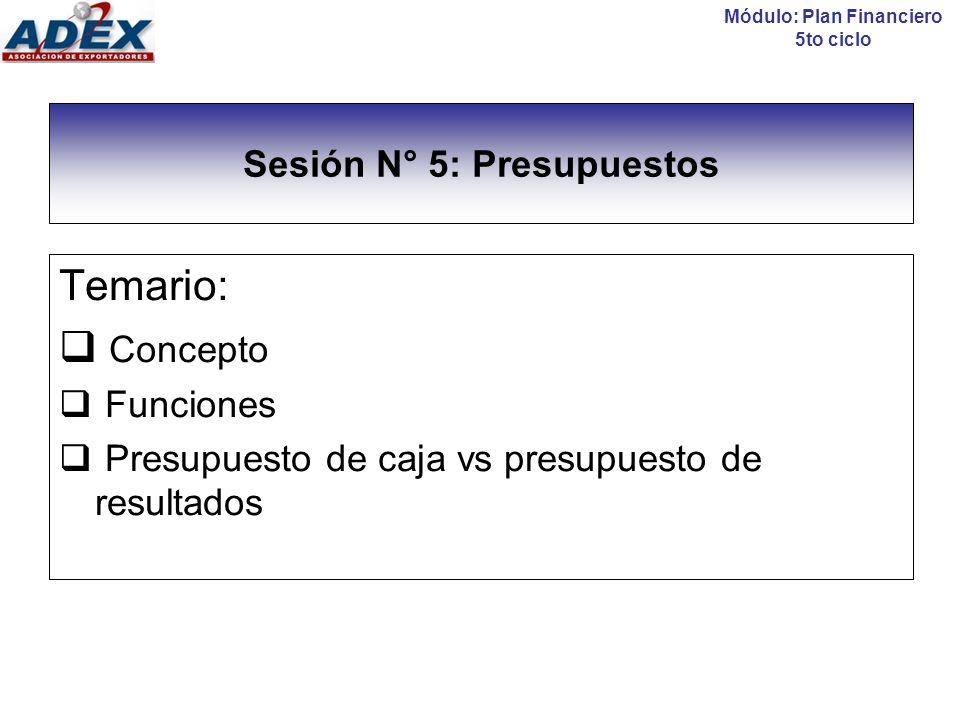Sesión N° 5: Presupuestos