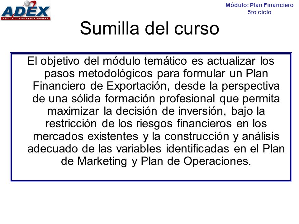 Módulo: Plan Financiero 5to ciclo