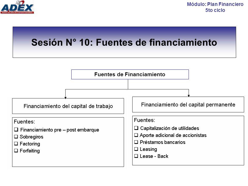Sesión N° 10: Fuentes de financiamiento