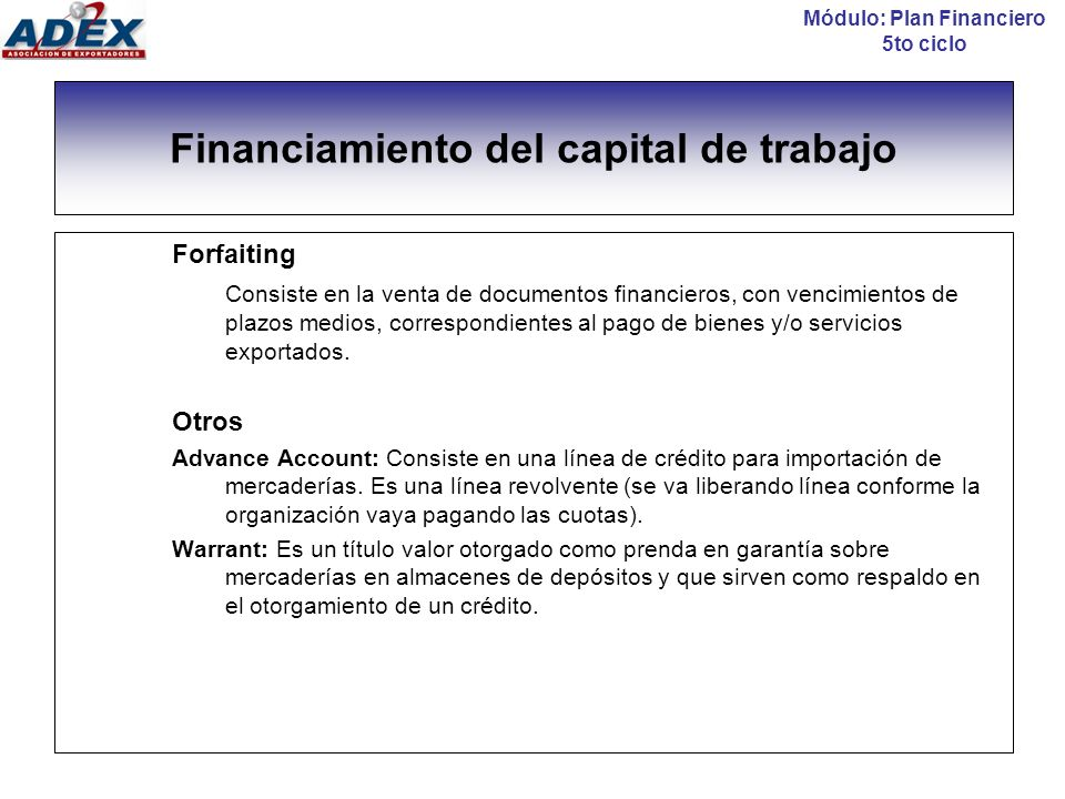 Financiamiento del capital de trabajo