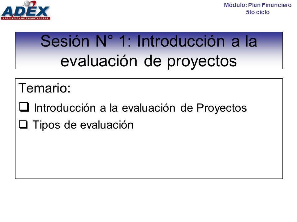 Sesión N° 1: Introducción a la evaluación de proyectos