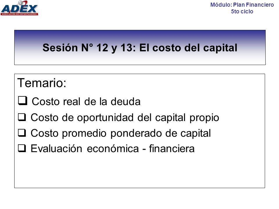Sesión N° 12 y 13: El costo del capital