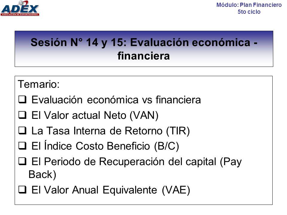 Sesión N° 14 y 15: Evaluación económica - financiera