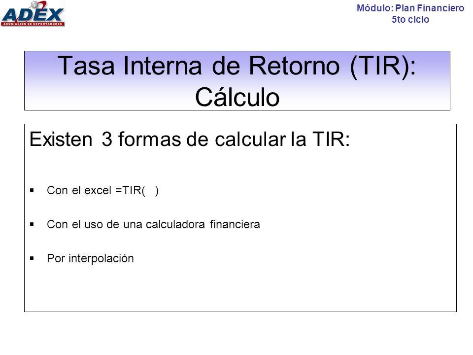 Tasa Interna de Retorno (TIR): Cálculo