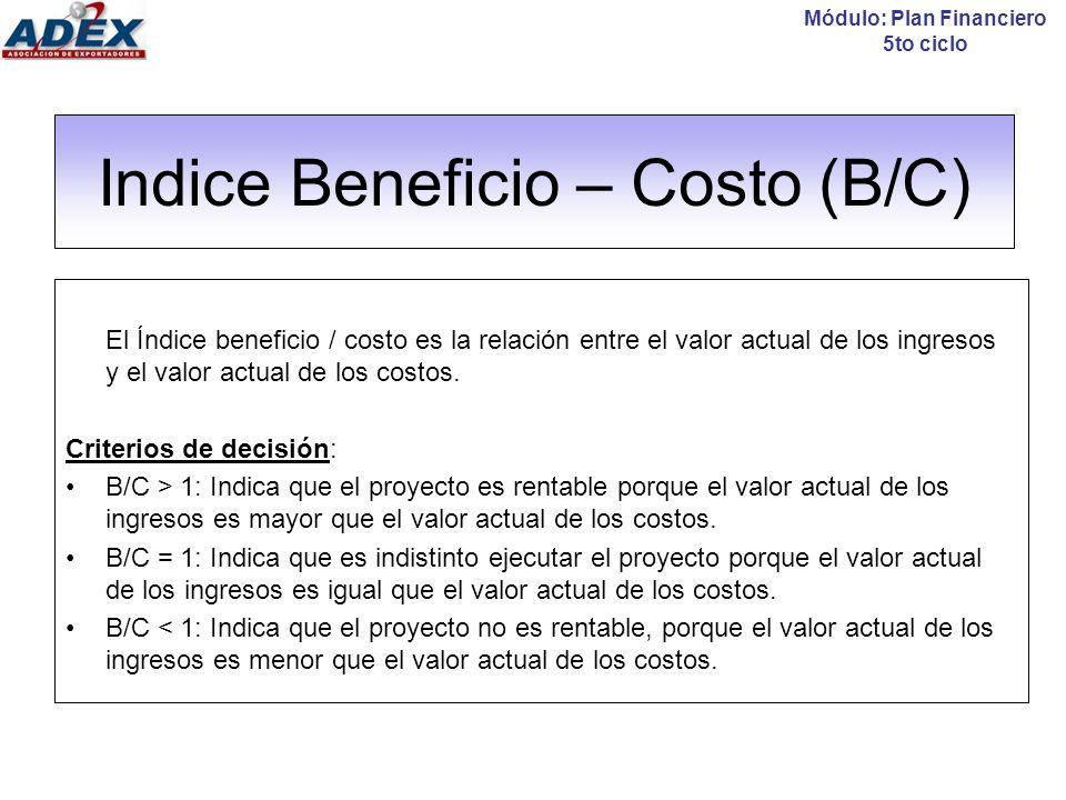 Indice Beneficio – Costo (B/C)