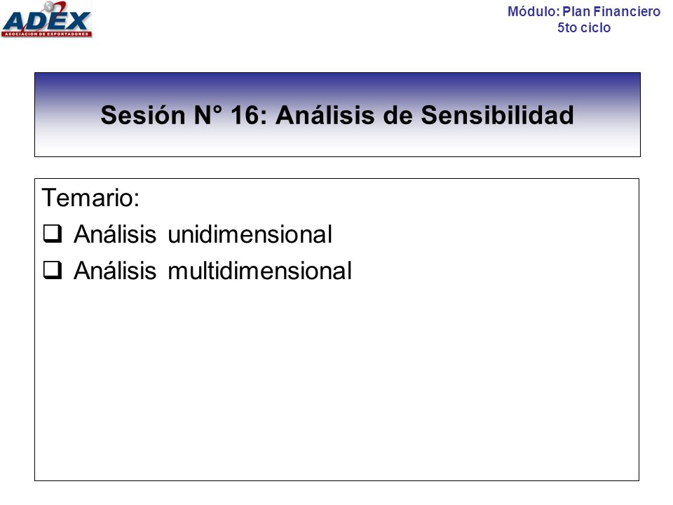 Sesión N° 16: Análisis de Sensibilidad
