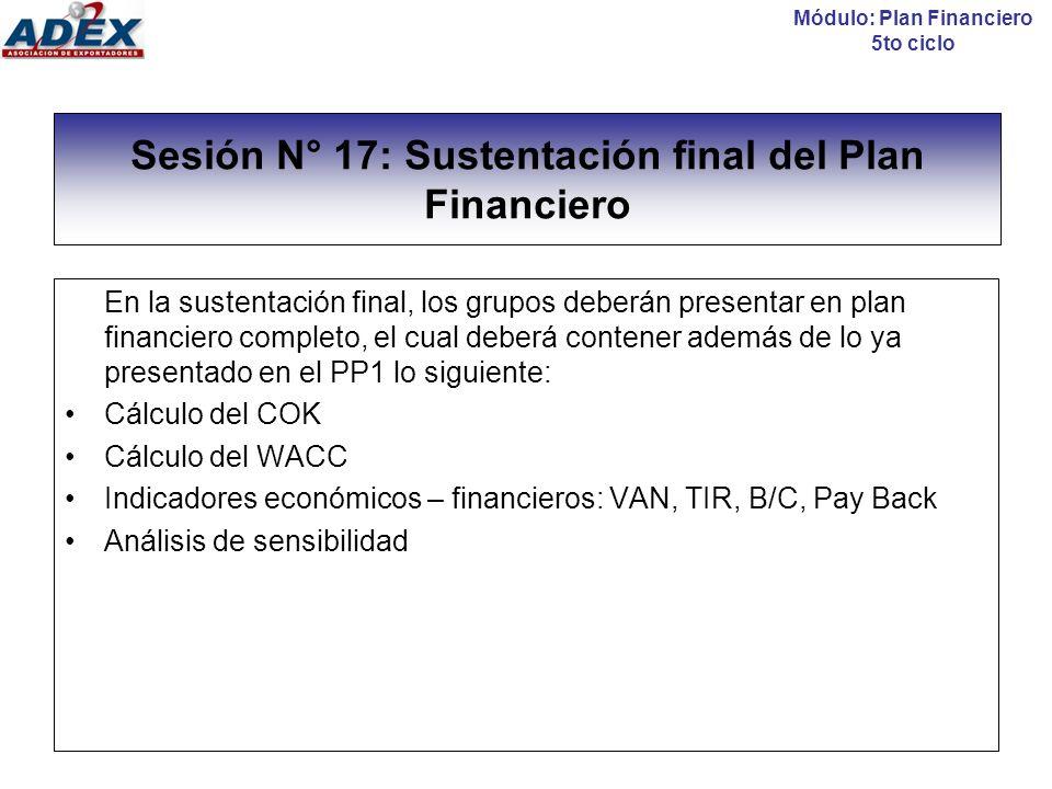Sesión N° 17: Sustentación final del Plan Financiero