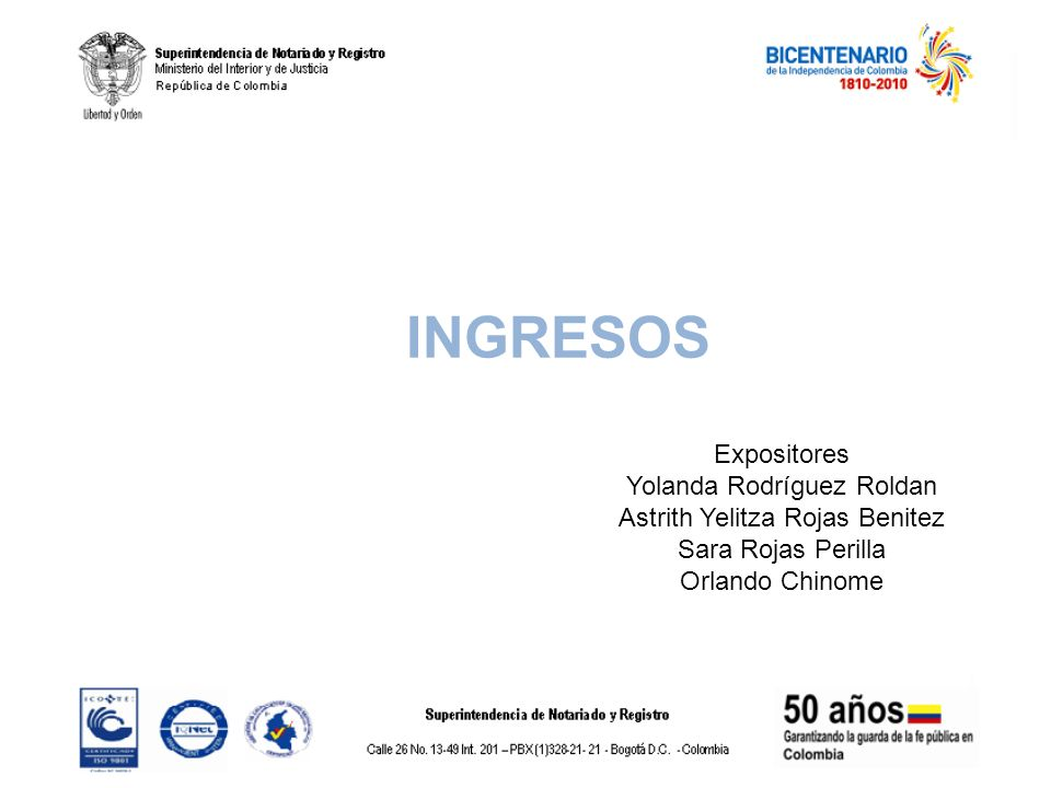 INGRESOS Expositores Yolanda Rodríguez Roldan
