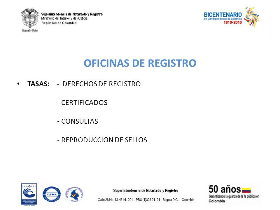 OFICINAS DE REGISTRO TASAS: - DERECHOS DE REGISTRO - CERTIFICADOS