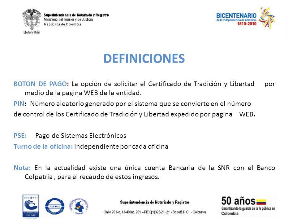 DEFINICIONES BOTON DE PAGO: La opción de solicitar el Certificado de Tradición y Libertad por medio de la pagina WEB de la entidad.