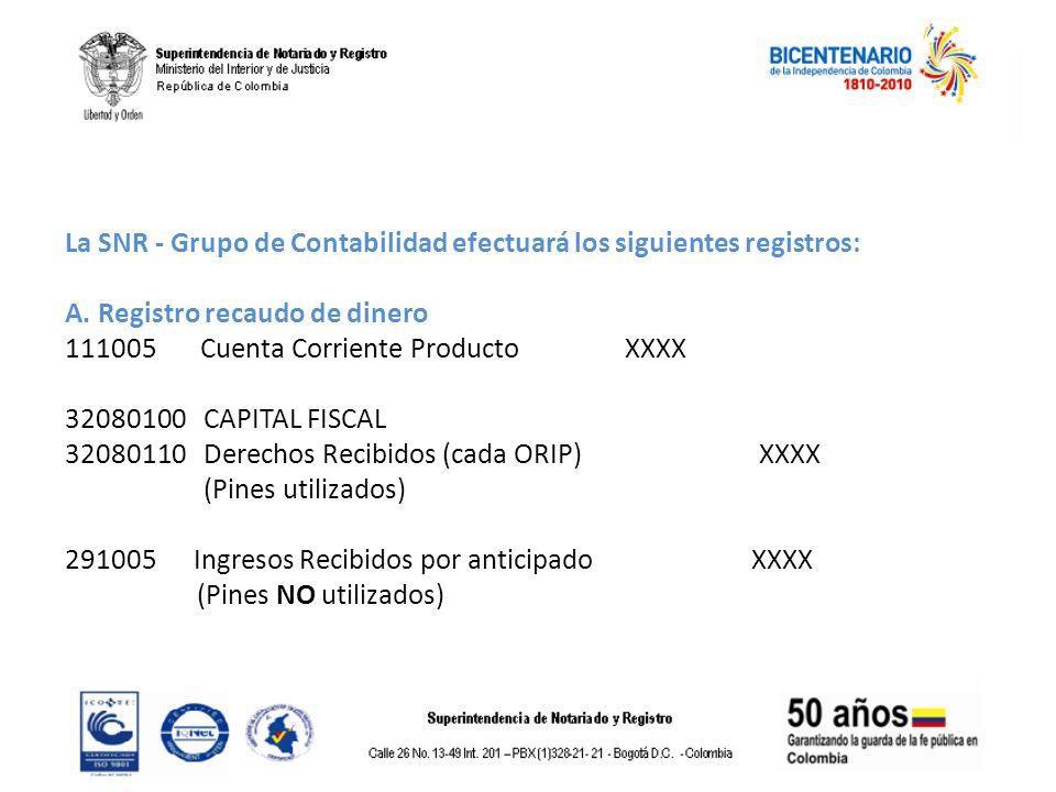 La SNR - Grupo de Contabilidad efectuará los siguientes registros: