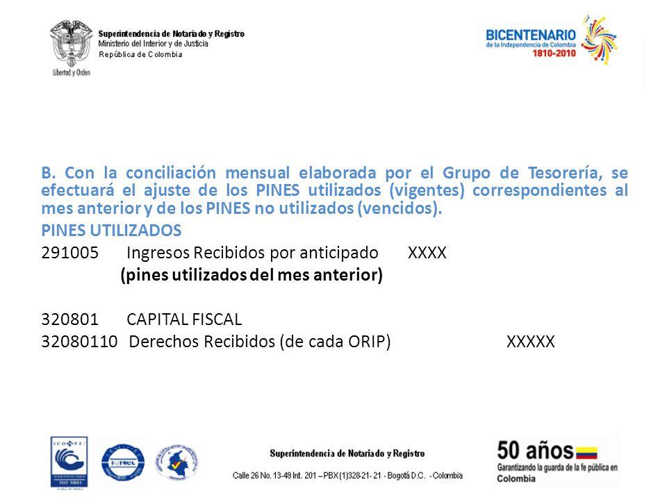 B. Con la conciliación mensual elaborada por el Grupo de Tesorería, se efectuará el ajuste de los PINES utilizados (vigentes) correspondientes al mes anterior y de los PINES no utilizados (vencidos).