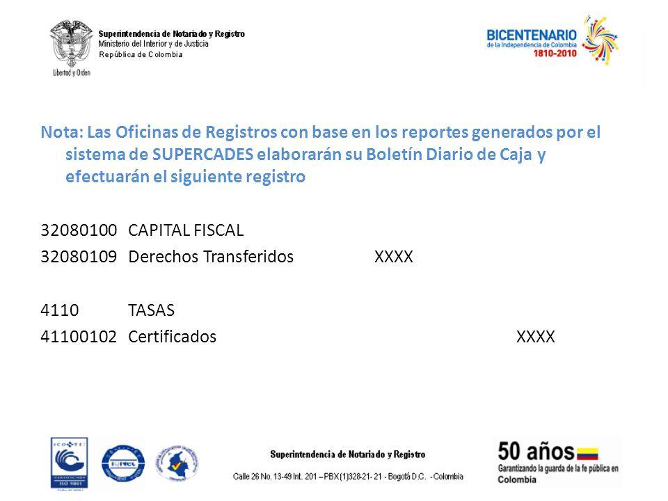 Nota: Las Oficinas de Registros con base en los reportes generados por el sistema de SUPERCADES elaborarán su Boletín Diario de Caja y efectuarán el siguiente registro