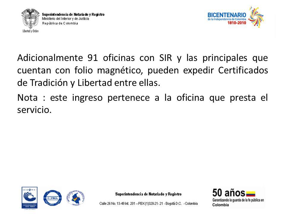 Adicionalmente 91 oficinas con SIR y las principales que cuentan con folio magnético, pueden expedir Certificados de Tradición y Libertad entre ellas.