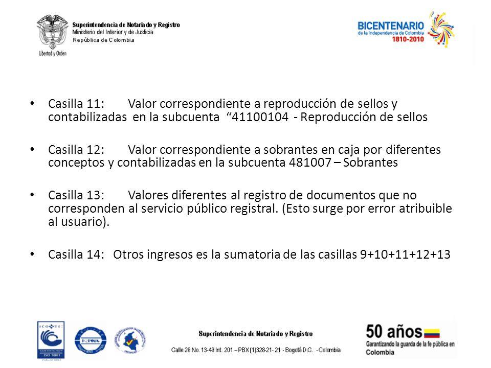 Casilla 11: Valor correspondiente a reproducción de sellos y contabilizadas en la subcuenta 41100104 - Reproducción de sellos