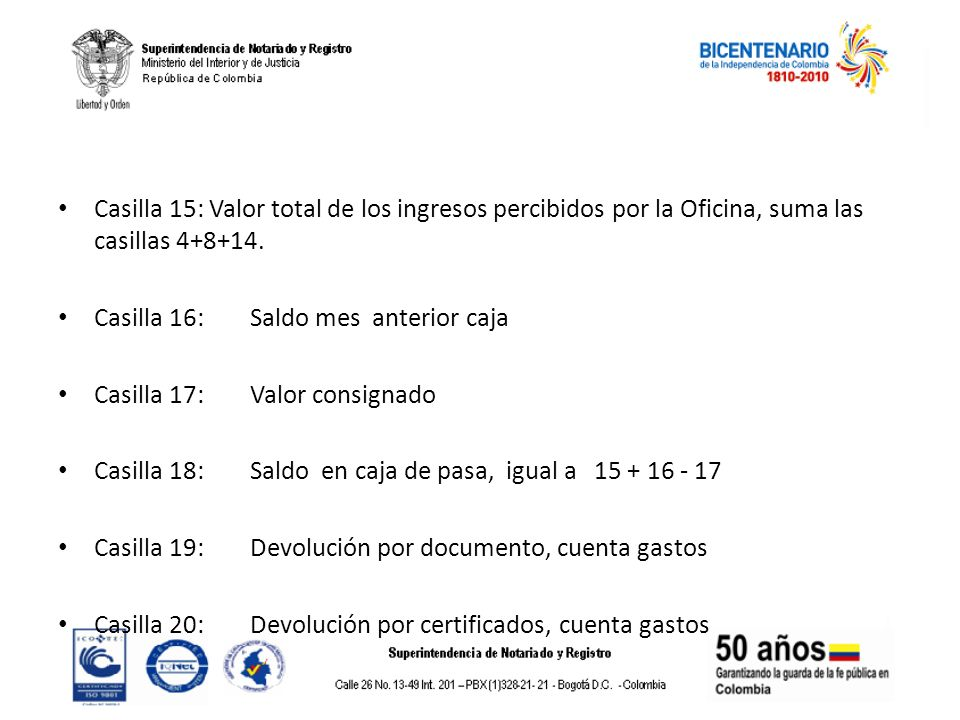 Casilla 15: Valor total de los ingresos percibidos por la Oficina, suma las casillas 4+8+14.