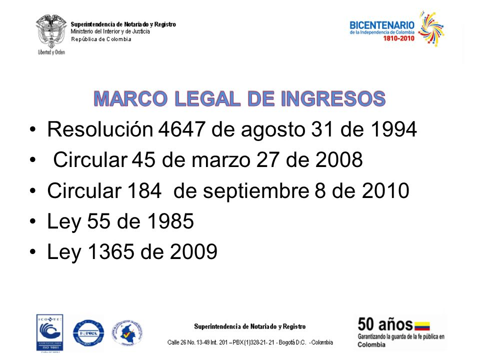 MARCO LEGAL DE INGRESOS