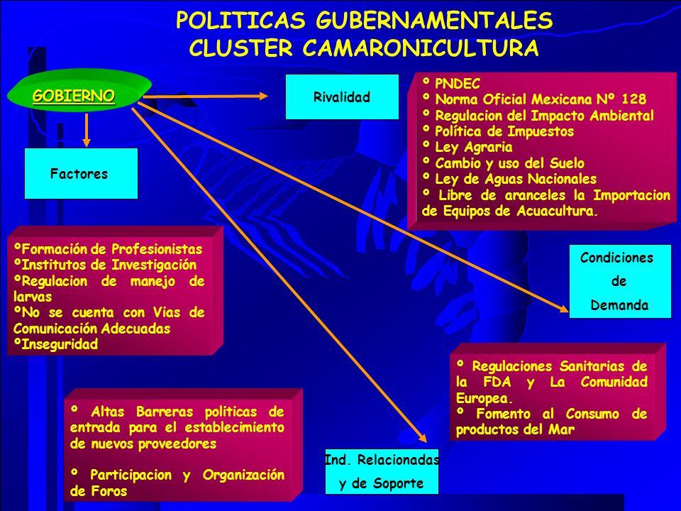 POLITICAS GUBERNAMENTALES CLUSTER CAMARONICULTURA