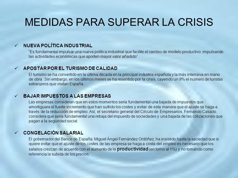 MEDIDAS PARA SUPERAR LA CRISIS
