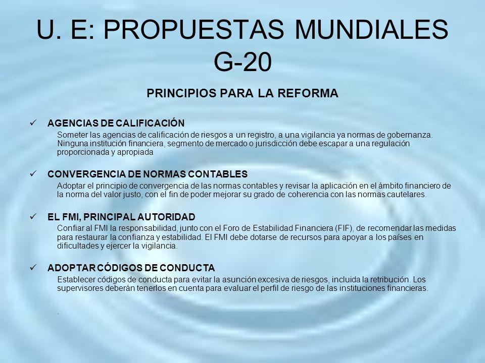U. E: PROPUESTAS MUNDIALES G-20