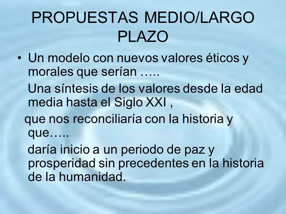 PROPUESTAS MEDIO/LARGO PLAZO