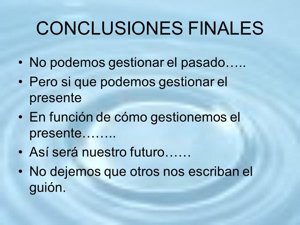 CONCLUSIONES FINALES No podemos gestionar el pasado…..