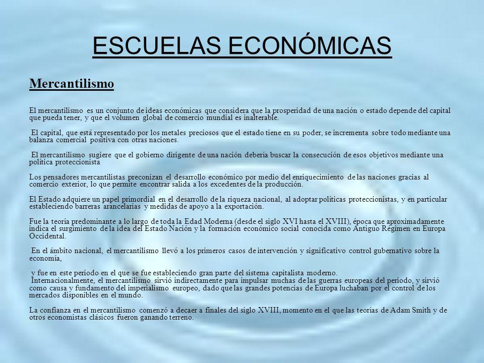 ESCUELAS ECONÓMICAS Mercantilismo