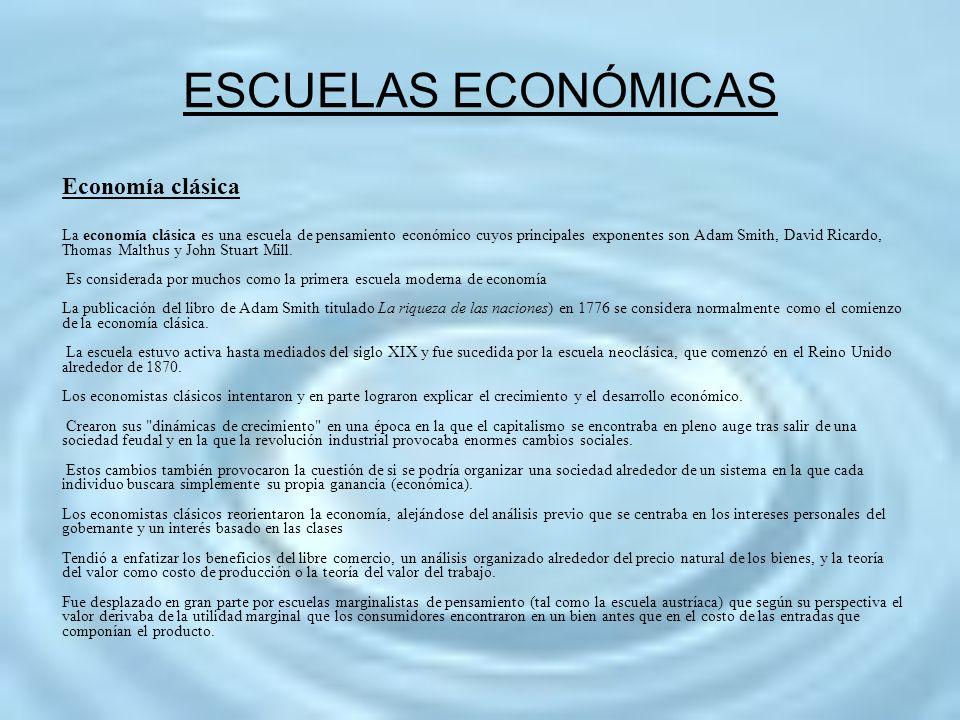 ESCUELAS ECONÓMICAS Economía clásica