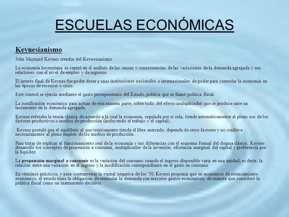 ESCUELAS ECONÓMICAS Keynesianismo