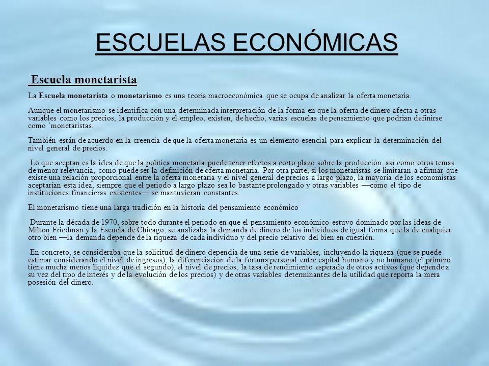 ESCUELAS ECONÓMICAS Escuela monetarista
