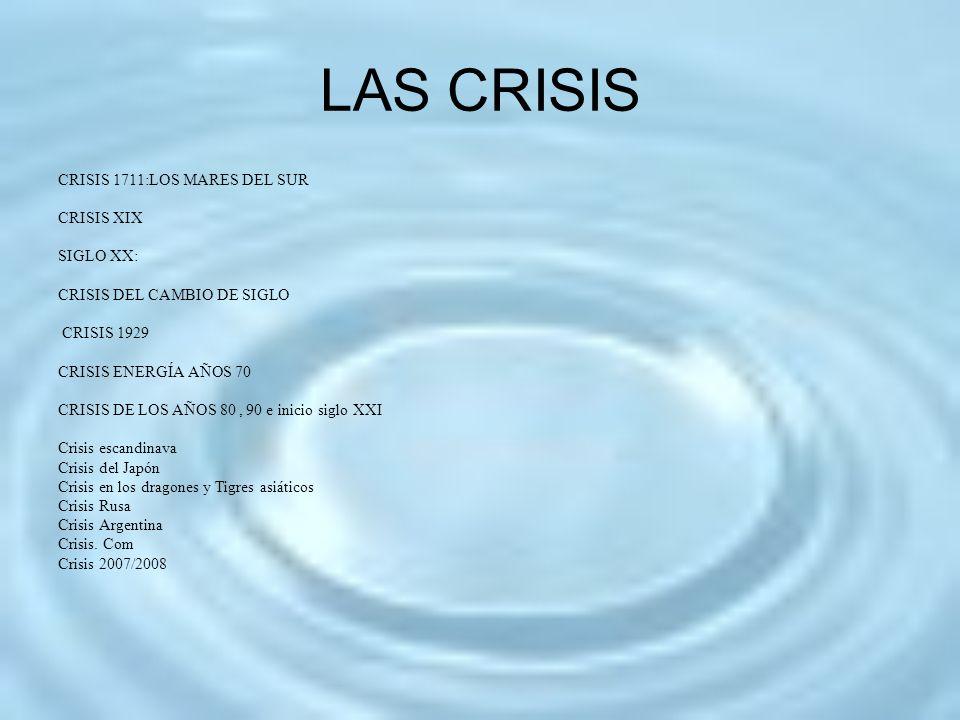 LAS CRISIS CRISIS 1711:LOS MARES DEL SUR CRISIS XIX SIGLO XX: