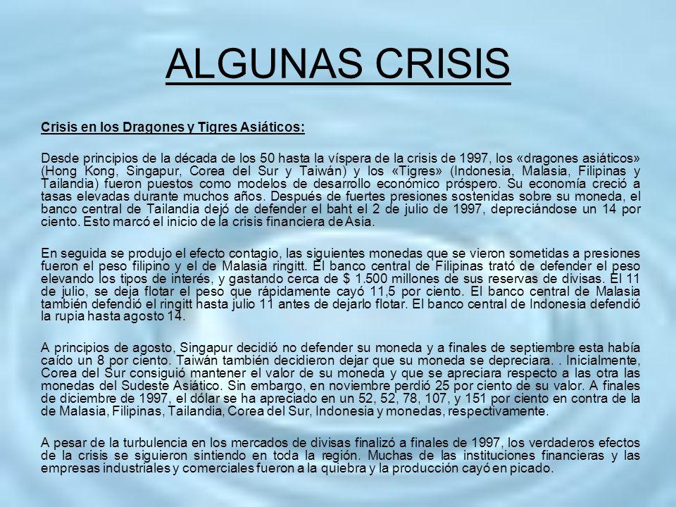 ALGUNAS CRISIS Crisis en los Dragones y Tigres Asiáticos: