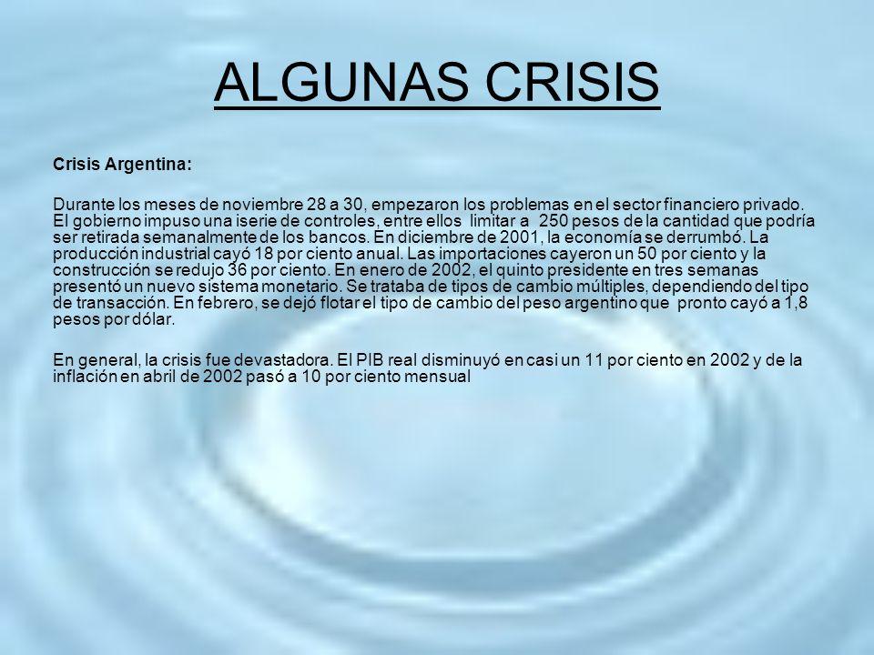 ALGUNAS CRISIS Crisis Argentina: