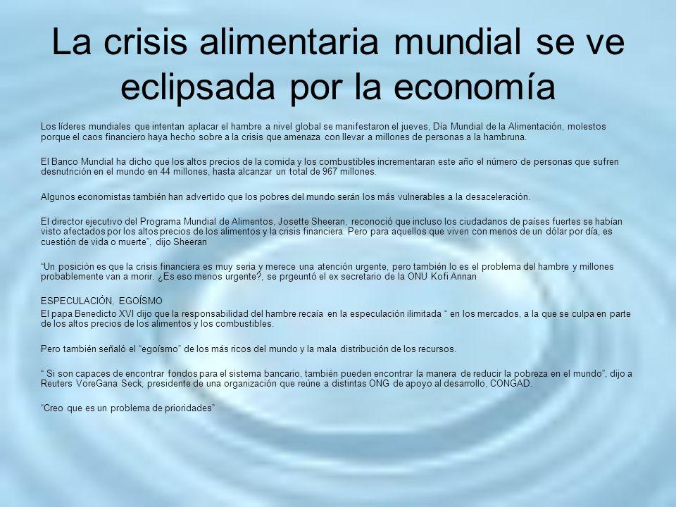 La crisis alimentaria mundial se ve eclipsada por la economía